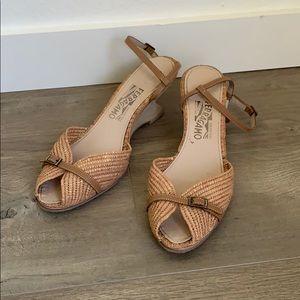 Salvatore Ferragamo Basket Weave Strappy Sandals